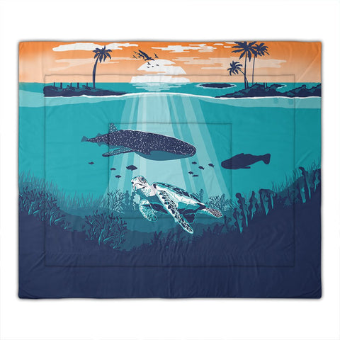 hawaiian-whale-and-turtle-in-sunset-polynesian-comforter