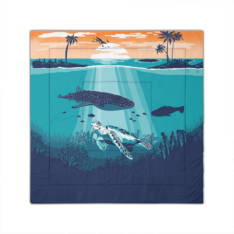Hawaiian Whale And Turtle In Sunset Polynesian Comforter - AH - JRC