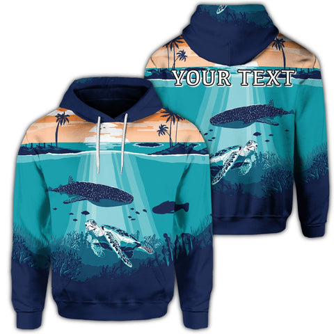Hawaiian Whale And Turtle In Sunset Polynesian Hoodie - AH - JR