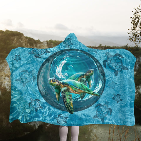 Hawaiian Whirlpool Turtle Polynesian Hooded Blanket - AH - A0 | Hawaii Hooded Blanket - Hawaiian Hooded Blanket - Hooded Blanket For You