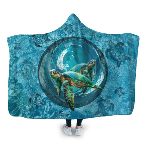 Hawaiian Whirlpool Turtle Polynesian Hooded Blanket - AH - A0