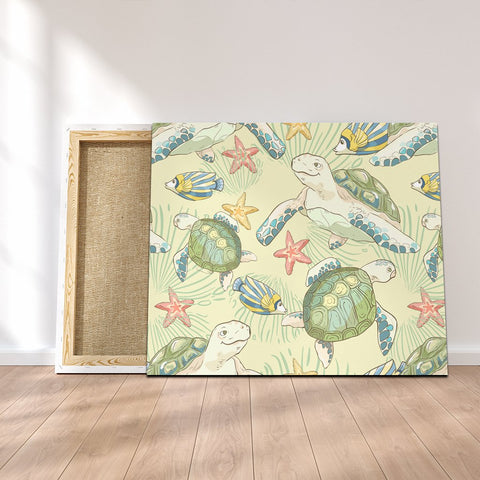 Hawaiian World Animals In Sea Canvas - AH - JRC