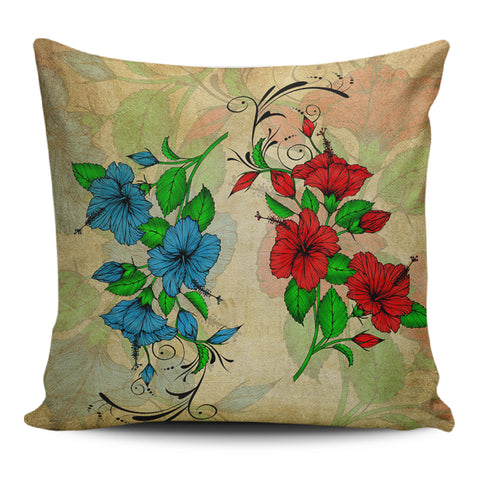 Hibiscus Blue And Red Pillow Covers - AH - J1