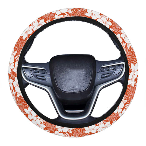 Hibiscus Flower Pattern Hawaii Universal Steering Wheel Cover with Elastic Edge - AH - J6 - Alohawaii