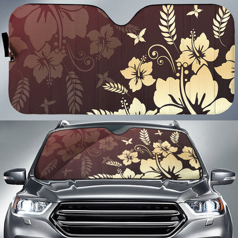Hibiscus Golden Royal Car Sun Shade AH J1 - Alohawaii