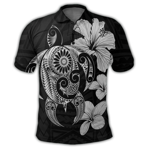 Image of Hibiscus Plumeria Mix Polynesian Turtle Polo Shirt Gray - AH - JR | Alohawaii Store | Hawaiian Polo Shirt Hawaiian Polo Shirt - Hawaii Polo Shirt For Men - Hawaii Polo Shirt For Women - Hawaii Polo Shirt For Kane - Hawaii Polo Shirt For Wahine