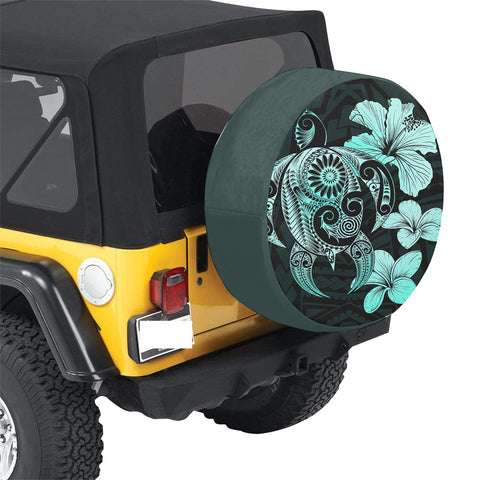 Image of Hibiscus Plumeria Mix Polynesian Turtle Turquoise Spare Tire Cover AH J1 - Alohawaii