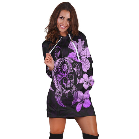 Hibiscus Plumeria Mix Polynesian Turtle Hoodie Dress Violet - AH - JR | Hawaiian Women's Hoodie Dress - Hawaiian Hoodie Dress