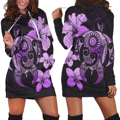 Hibiscus Plumeria Mix Polynesian Turtle Hoodie Dress Violet - AH - JR