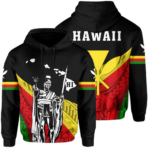 Image of Hawaii King Kamehameha Kanaka Map Hoodie - Bend Style - Black | AH | Hawaiian Hoodie