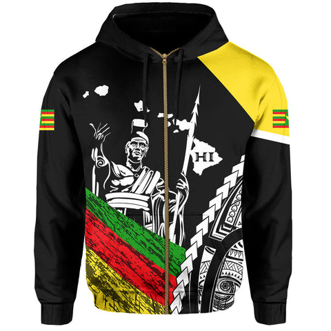 Image of Hawaii Map Polynesian Kanaka King Kamehameha Hawaiian Hoodie Zip - Black - AH - J6