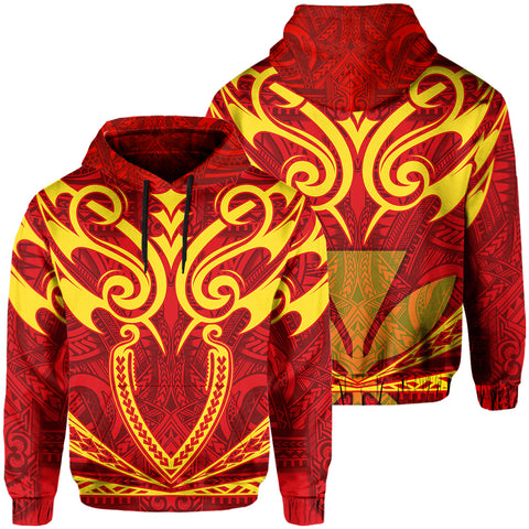 Hawaii Kanaka Polynesian Football Jersey Hoodie - Red And Yellow - Bernice Style - AH - J2