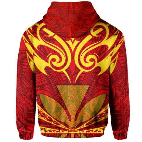 Vanuatu Islands Bedding SetHawaii Kanaka Polynesian Football Jersey Hoodie - Red And Yellow - Bernice Style - AH - J2