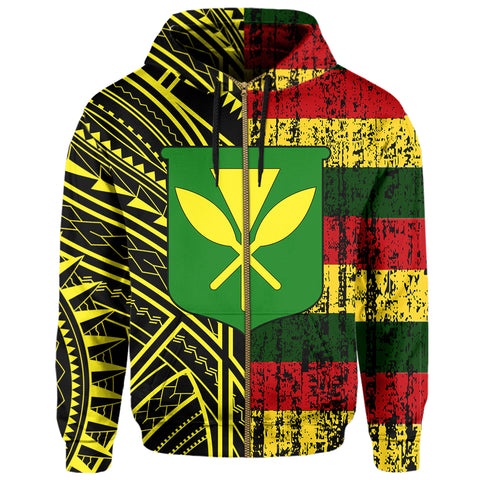 Image of Hawaii Kanaka Flag Polynesian Hoodie Zip