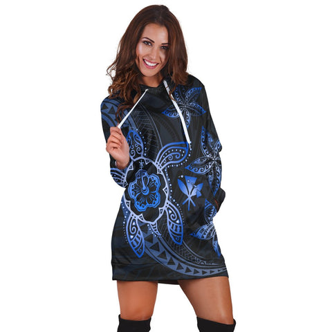 Kanaka Map Hibiscus Plumeria Turtle Art Blue Polynesian Hoodie Dress - AH - JR | Hawaiian Women's Hoodie Dress - Hawaiian Hoodie Dress