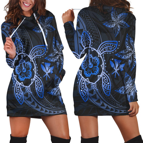 Kanaka Map Hibiscus Plumeria Turtle Art Blue Polynesian Hoodie Dress - AH - JR