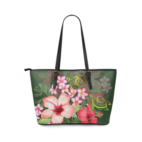 Hawaii Turtle Tropical Flower Leather Tote - Deni Style - AH - J2