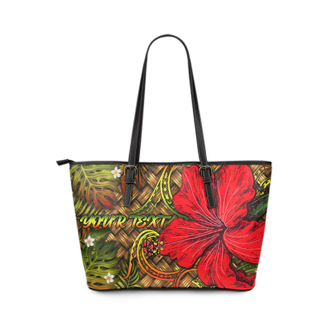 Hawaii Lauhala Hibiscus Polynesian Tropical Large Leather Tote