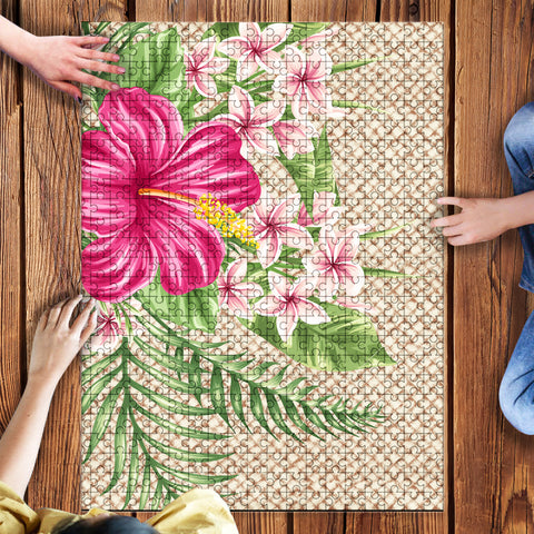Image of Lauhala Hibiscus Puzzle - AH - A0 - Alohawaii