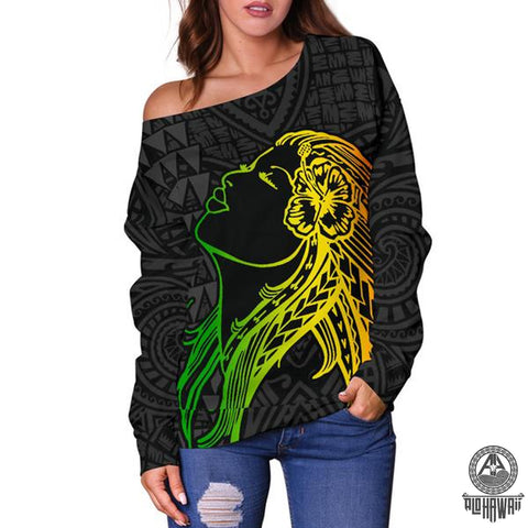 Hula Girl And Turtle Hibiscus Women's Off Shoulder Sweater - AH J4 - Alohawaii