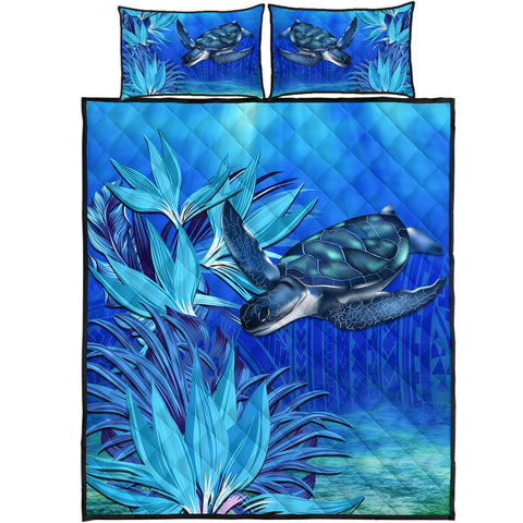 Hawaii Blue Turtle Paradise Quilt Bed Set - Breath Ocean