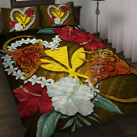Kanaka Manta Ray Plumeria Heart Polynesian Quilt Bed Set