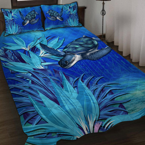 Hawaii Blue Turtle Paradise Quilt Bed Set