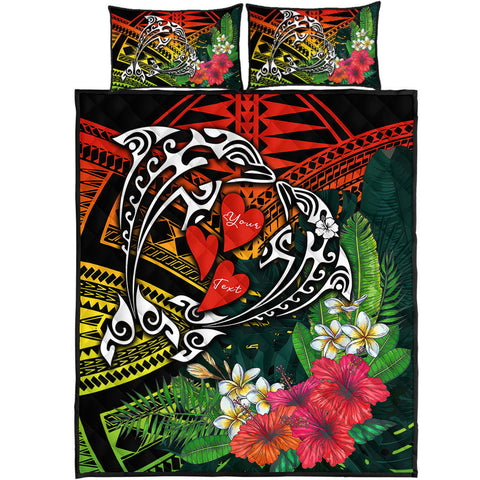 Hawaii Dophin Couple Love Polynesian Flower Quilt Bed Set