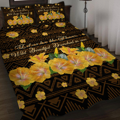 Hawaii Yellow Hibiscus Quilt Bed Set