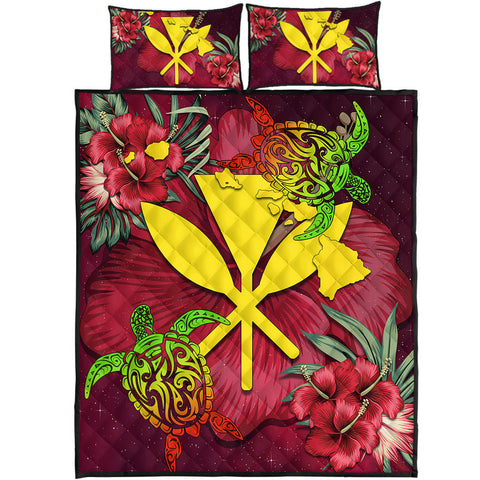 Kanaka Map Turtle Hibiscus Quilt Bed Set - Red Velvet