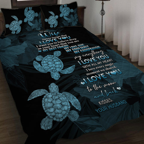 Hawaii Turtle Quilt Bed Set Hibiscus To My Wife Blue AH J1