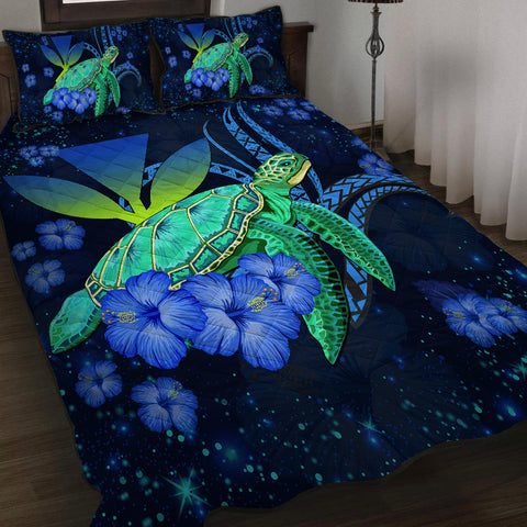 Hawaii Turtle Hibiscus Polynesian Quilt Bed Set