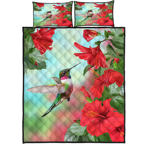 Image of Hawaii Hummingbird Red Hibiscus Quilt Bed Set