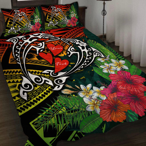 Hawaii Dophin Couple Love Polynesian Flower Home Set