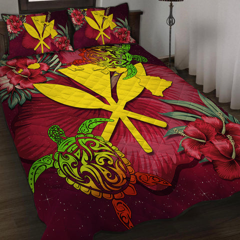 Kanaka Map Turtle Hibiscus Quilt Bed Set