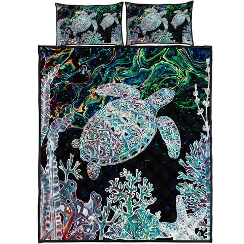 Hawaii Turtle Corals Shell Background Quilt Bed Set