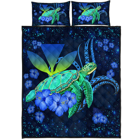 Hawaii Turtle Hibiscus Polynesian Quilt Bed Set - Jade Stone