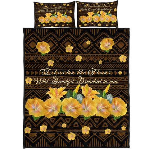 Hawaii Yellow Hibiscus Quilt Bed Set - Sunshine