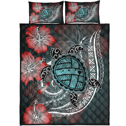 Hawaii Turtle Map Hibiscus Polynesian Quilt Bed Set