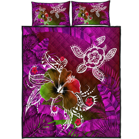 Hawaii Turtle Flowers And Palms Retro Quilt Bed Set