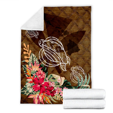 Image of Kanaka Turtle Tropical Knit Background Premium Blanket - AH J8