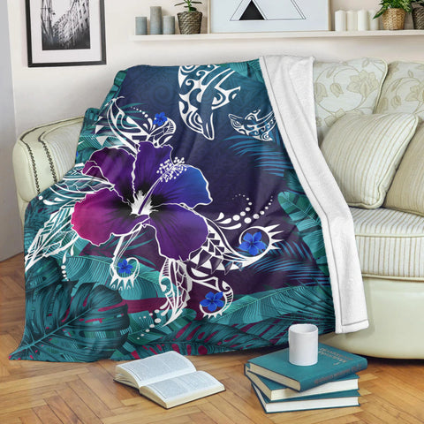 Hawaii Dophin Flowers And Palms Retro Premium Blanket
