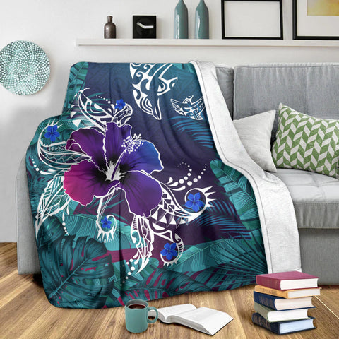 Image of Hawaii Dophin Flowers And Palms Retro Premium Blanket - AH J8
