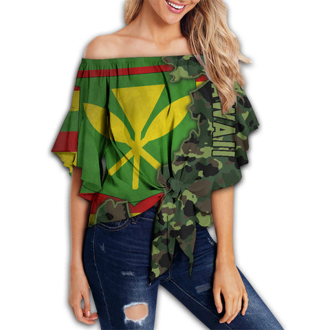 Image of Kanaka Flag Camo Pattern Off Shoulder Waist Wrap Top