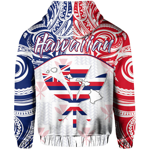 Hawaiian Kanaka Hoodie Flag Nation Demodern White AH J1 - Alohawaii