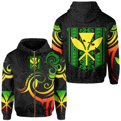 Hawaiian Kanaka Hoodie (Zipper) Hawaii Always In My Heart AH J1