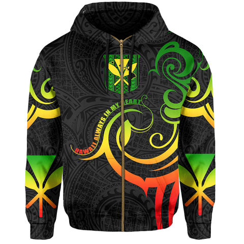 Hawaiian Kanaka Hoodie (Zipper) Hawaii Always In My Heart AH J1 - Alohawaii