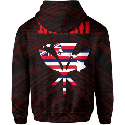 Hawaiian Kanaka Hoodie (Zipper) Heart Tattoo Red AH J1 - Alohawaii