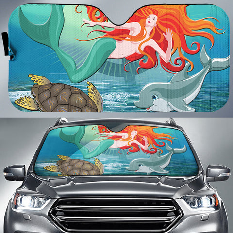 Mermaid And Animal Car Sun Shade AH J1 - Alohawaii