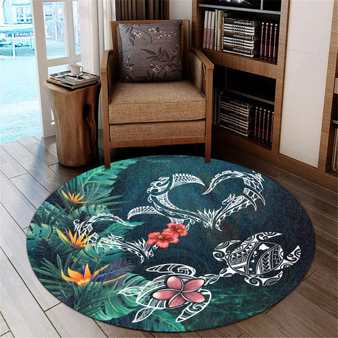 Image of Hawaii Turtle Tropical Round Carpet - Heart Polynesian